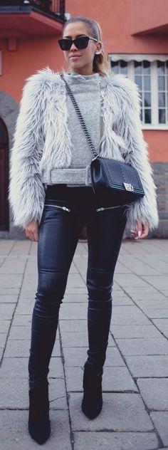 Grey Faux Fur Jacket by Kenzas