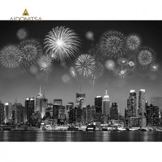 Give life to the blank wall in your home with the New York City skyline in black and white. The printed canvas has a glossy finish and added rhinestone accents. Seattle Skyline, New York Skyline, Firework Painting, Beautiful Artwork, Mixed Media Art, Fireworks, New York City, Canvas Art, Black And White