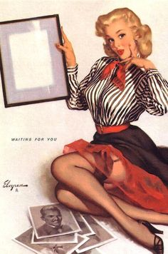 """/""""The Wrong Nail/"""" 1960s Vintage Style Elvgren Pin-Up Girl Poster 16x20"""