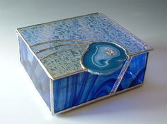 STAINED GLASS Jewelry Box blue with DICHROIC glass accents