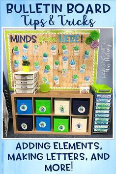 Bulletin board tips and tricks: adding elements, how to make your own letters, and creating a cohesive look to your classroom! Calendar Bulletin Boards, Teacher Bulletin Boards, Bulletin Board Letters, Classroom Bulletin Boards, Classroom Setup, Classroom Design, Preschool Classroom, Future Classroom, Classroom Organization