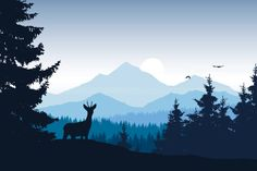 Realistic vector illustration of mountain landscape with forest, deer and eagle – artystyczna grafika wektorowa Mountain Illustration, Forest Illustration, Landscape Illustration, Watercolor Landscape, Landscape Art, Pastel Wallpaper, Nature Wallpaper, Landscape Silhouette, Geometric Deer