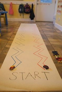 ZIG ZAG Race for fine motor control. Perfect for transportation theme! Motor Skills Activities, Gross Motor Skills, Toddler Activities, Preschool Activities, Physical Activities, Fine Motor Activities For Kids, Time Activities, Preschool Kindergarten, Preschool Learning