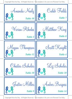 Starfish Place Card Template Beach Wedding Escort Card Lazy - Wedding place card template word