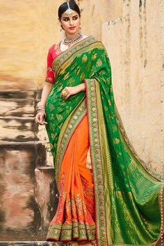 Green and Orange jacquard and tussar silk saree with pink tussar silk blouse http://www.andaazfashion.com/womens/sarees/jacquard