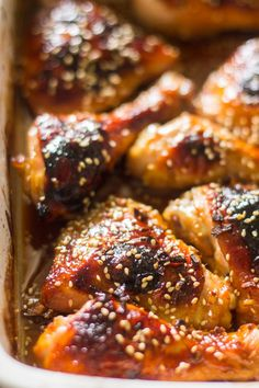The easiest honey garlic sesame baked chicken is made with just 5 ingredients makes a perfect weeknight meal. Don't you just love it when you finally learn how to make one of your favorite ta… Cheap Chicken Recipes, Chicken Drumstick Recipes, Garlic Chicken Recipes, Chicken Meals, Bbq Chicken, Chicken Pasta, Fried Chicken, Baked Honey Garlic Chicken, Oven Baked Chicken