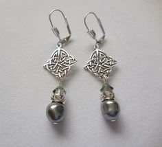 Sterling silver and Swarovski grey baroque pearl earrings by ParkhillDesigns on Etsy