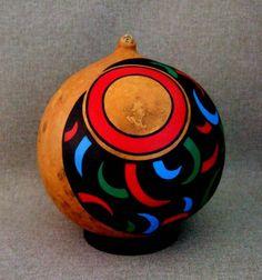 Pintados a mano OOAK calabaza arte objeto ornamento por IshiGallery