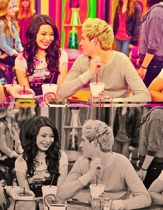 Miranda Cosgrove and Niall Horan...One Direction on their episode of iCarly! iCarly. blech.