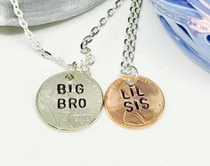 Big brother lil sister, Brother Gift, Brother Necklace, Necklace for Brother, Brother and sister necklace, Big brother little sister