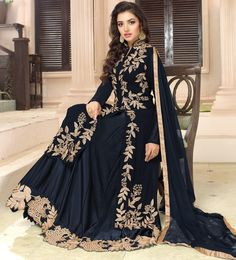 490542: Black and Grey color family stitched Party Wear Salwar Kameez .