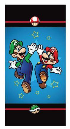 Toalla de playa Mario Bros. Luigi y Mario Toalla de playa con la imagen de los personajes principales del popular videojuego Mario Bros.