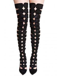 #DollsKill #lookbook #photoshoot #model #imprisoned #cutout #boots #thigh #high #heels #shoes #black
