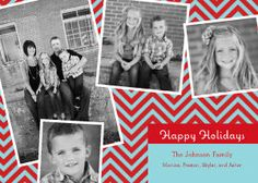 Mixbook Red and Blue Collage Holiday Photo Cards