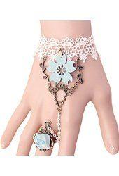 Time Pawnshop Hollow White Lace Elegant Rose Ring Wrap Bracelet