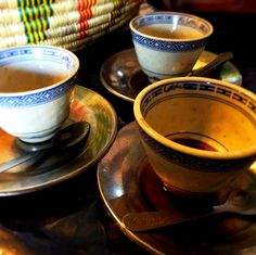 { STIL LIFE: A TRIO OF ETHIOPIAN COFFEE CUPS I} Camera: iPhone 5, 8-megapixel iSight camera Mobile Editing: Photoshop Express — at Abyssinia.