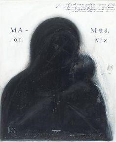 Thierry de Cordier  NNNANNNN. Byz (Black Mad. With a Bump), 1996 Acyrlic and varnish on paper 23 5/8 x 19 1/2 in. ( 60 x 49.5 cm )