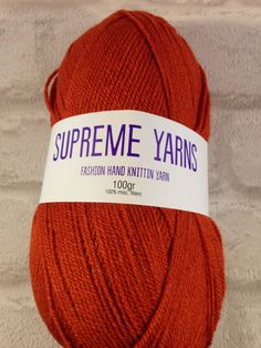 Supreme Yarns Rusty Red 100 gram ball of by Bitsandbobstopia Cheap Yarn, Yarns, Supreme, Knitted Hats, Winter Hats, Knitting, Trending Outfits, Unique Jewelry, Handmade Gifts