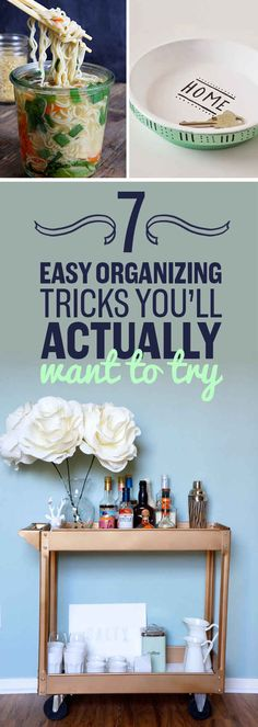 7 Quick Organizing Tricks You'll Actually Want To Try - WoodWorking Project Organization Station, Clutter Organization, Clothing Organization, Organisation Ideas, Organizing Ideas, Life Hacks, Diy Bar Cart, Organize Your Life, Diy Wood Projects
