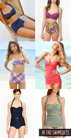 retro swim suits retro bathing suits beach wear womens bathing suit trends styles high rise bottoms one piece boy shorts polka dots checkered swimsuits pretty please