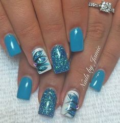 34 Gorgeous Natural Summer Nail Color Designs Ideas When you were a little girl, you could color your nails in any color you chose and you would look … Teal Nails, Fancy Nails, Pretty Nails, My Nails, Blue Nails Art, Fingernails Painted, Nail Pink, Orange Nail, Nails Only