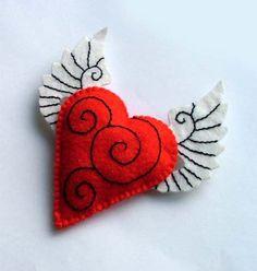 Valentines Flying Heart Tattoo Brooch Pin by TheDollCityRocker, $15.00