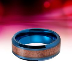Tungsten Ring Blue Koa Wood Wedding Band Female Male