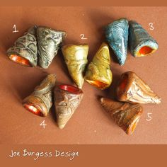 Polymer clay cones, 5 pair Polymer bead caps, Textured beads, Boho earring beads, Rustic drop beads, Organic bead caps, Ethnic clay cones by JBDRusticOrganic on Etsy