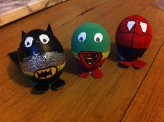 Easter eggstravaganza: Superman, Spiderman and Batman Eggs by Caroline Hammond Easter Art, Easter Crafts, Easter Bunny, Holiday Crafts, Easter Eggs, Easter Ideas, Kids Crafts, Easter Bonnets, Egg Crafts