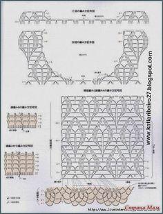 Katia Ribeiro Acessórios: Blusa em crochê ( ponto imita tricô ) com gráfico