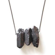 Quartz Trio Necklace Black by  Midwinter Co.