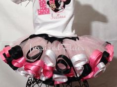 Personalized Minnie Mouse Birthday Tutu Outfit- Ribbon Edged Tutu, Applique Shirt or Onesie.