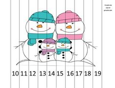 """Adorable little puzzle perfect for centers, choice time, or early finishers! All you need to do is print, laminate, and cut!The puzzle comes in vertical strips (just under 1"""" wide), features a snowman family and goes from 10 to 19 by ones so students can practice teen numbers.Please check back as I will be posting more puzzles that feature other images and counting by 1s, 2s, 5s, and 10s."""
