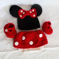 Crochet Minnie Mouse Infant Set - Hat, Diaper Cover, Booties - Size 0-3 Months