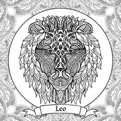 coloring book for adult and older children coloring page with 12 zodiac signs outline