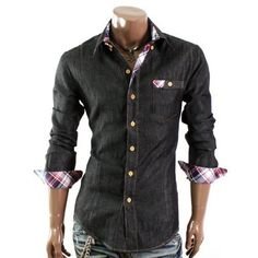Doublju Mens Casual Patch Pocket Shirts(W621)