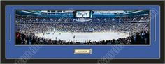 One framed large Vancouver Canucks stadium panoramic with a customizable nameplate*, double matted in team colors to 39 x 13.5 inches.  The lines show the bottom mat color. $139.99  @ ArtandMore.com