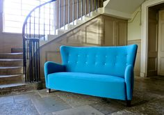 Danish Sofa High Back in Teal Wool with Velvet Buttons, 1940's