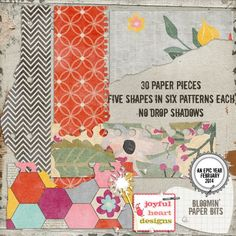 An Epic Year - Bloomin' {paper bits} Graphics 30 pieces of torn paper, five shapes in six patterns each, no drop shadows, saved in digital .png fo by Joyful Heart Designs