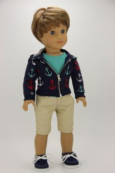 Ocean Blue Turtleneck Top T-Shirt handmade for 18 inch American Girl Doll