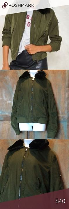 Nasty Gal change your life  bomber jacket sz lg Nasty Gal Kilky change your life detachable collar bomber jacket. Beautiful olive green with black faux fur collar. Gunmetal hardware. Zip front. Size large. New with tags. Nasty Gal Jackets & Coats