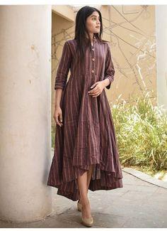 Shop online Orchid high low dress Tint of violet khadi with high low wavy bottom Salwar Designs, Kurti Neck Designs, Kurti Designs Party Wear, Blouse Designs, Stylish Dresses, Casual Dresses, Dress Outfits, Indian Designer Outfits, Designer Dresses