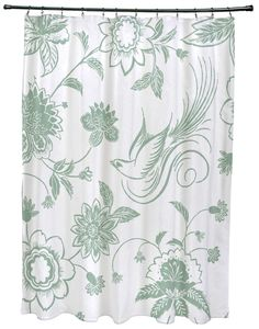 Botanical Blooms Traditional Bird Floral Print Shower Curtain