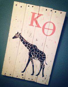 Personalized Sorority/Fraternity Sign // Reclaimed Wood // White Distressed - Coral - Espresso