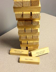 Use a computer label program, or write with a sharpie, prompts or questions on a block game. Then take turns selecting blocks, answering questions, and stacking them to build a tower. ABC Counseling, PLLC