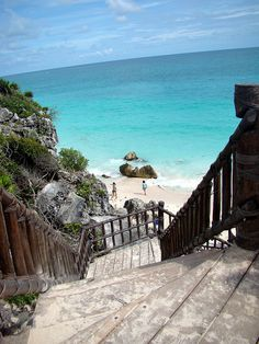 sandy stairway in Tulum, Mexico - the Mayan Riviera