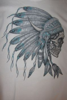 Indian Chief Skull Headdress is NOT lacking in detail. This grey scale image has a hint of turquoise which really brings the image off the page if you will. Amazing! - 5.3 oz - preshrunk 100% heavy du
