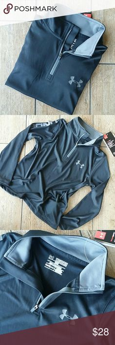 NWT UNDER ARMOUR 1/4 ZIP NWT black and gray loose fit 1/4 zip up Funnel neck when full zip Gray UA symbol on chest Gray UNDER ARMOUR written down right arm No rips, stains or defects Smoke free home Under Armour Shirts & Tops