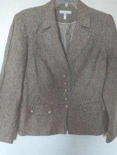 Laura Studio jacket  light brown linen pockets tailored #LauraStudio #buttonjacket