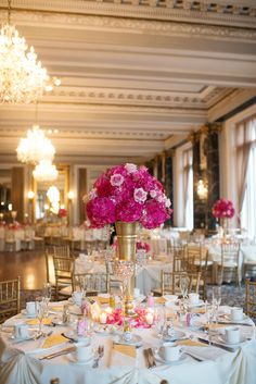 Pink Hydrangeas and Rose Tall Centerpieces